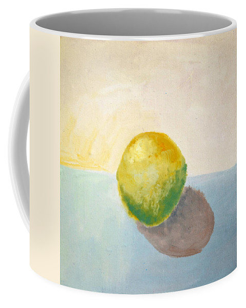 Lemon Coffee Mug featuring the painting Yellow Lemon Still Life by Michelle Calkins