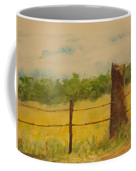 Meadow Coffee Mug featuring the painting Yellow Meadow by Vicki Housel