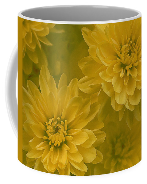 Yellow Mum Art Coffee Mug featuring the photograph Yellow Mums by Linda Sannuti