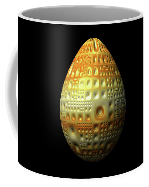 Series Coffee Mug featuring the digital art Yellow Nubbled Egg by Hakon Soreide