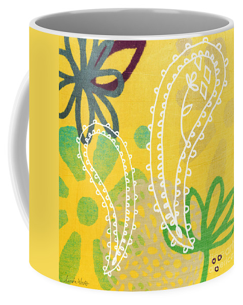 Paisley Coffee Mug featuring the painting Yellow Paisley Garden by Linda Woods
