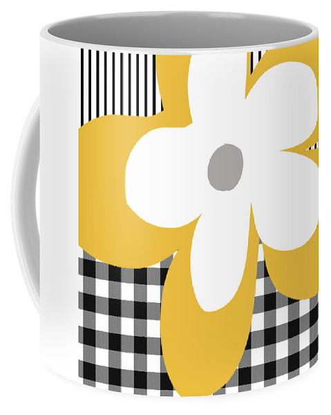 Gingham Coffee Mug featuring the mixed media Yellow Picnic Flower- Art By Linda Woods by Linda Woods