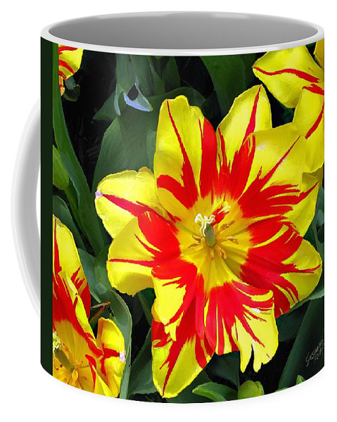 Flower Print On Canvas Coffee Mug featuring the painting Yellow Red Flower by Susanna Katherine