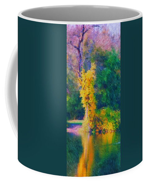Digital Landscape Coffee Mug featuring the digital art Yellow Reflections by David Lane