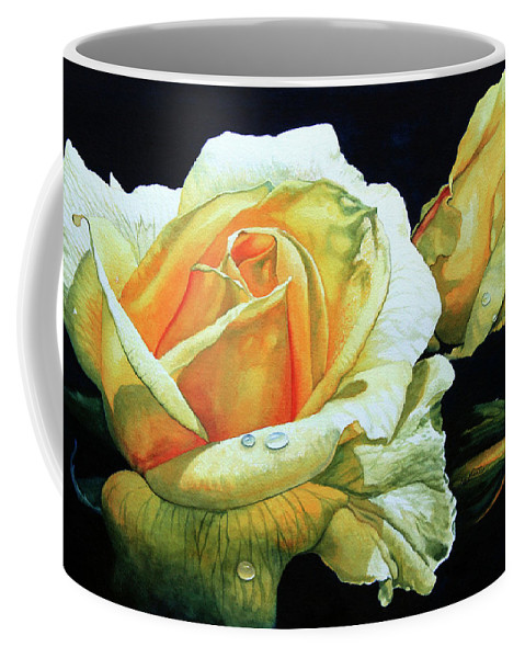 Yellow Roses Coffee Mug featuring the painting Yellow Roses by Hanne Lore Koehler