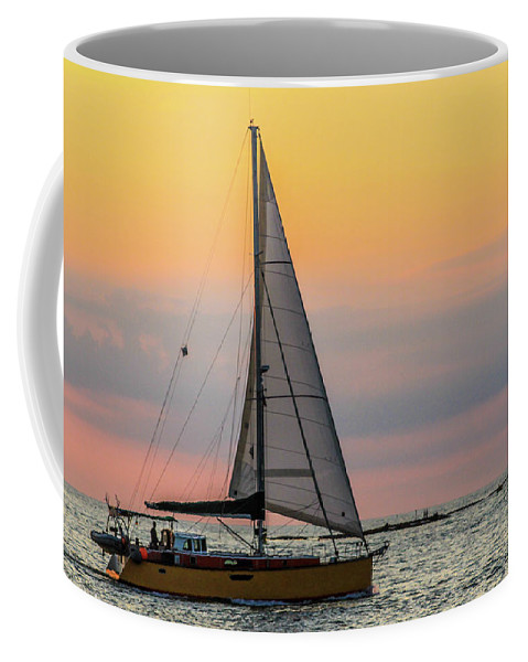 Sail Coffee Mug featuring the photograph Yellow Sailboat At Sunrise by Scott Kwiecinski