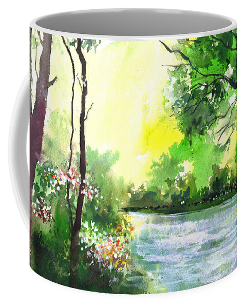 Sky Coffee Mug featuring the painting Yellow Sky by Anil Nene
