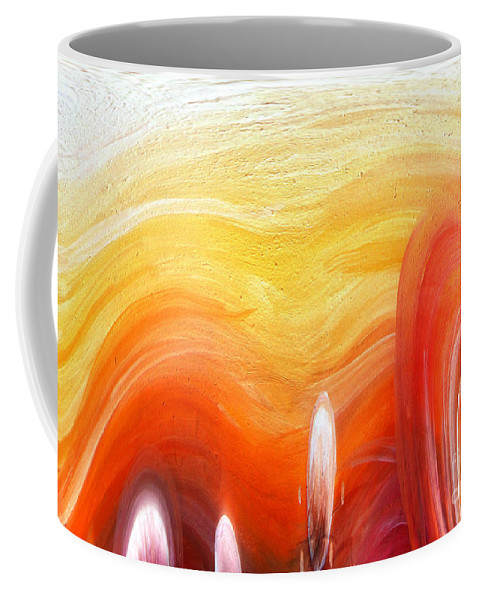 Yellow Coffee Mug featuring the painting Yellow Sunlight Abstract Art by Sofia Metal Queen