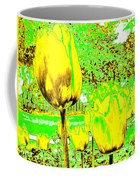 Abstract Coffee Mug featuring the digital art Yellow Tulips Abstract by Will Borden