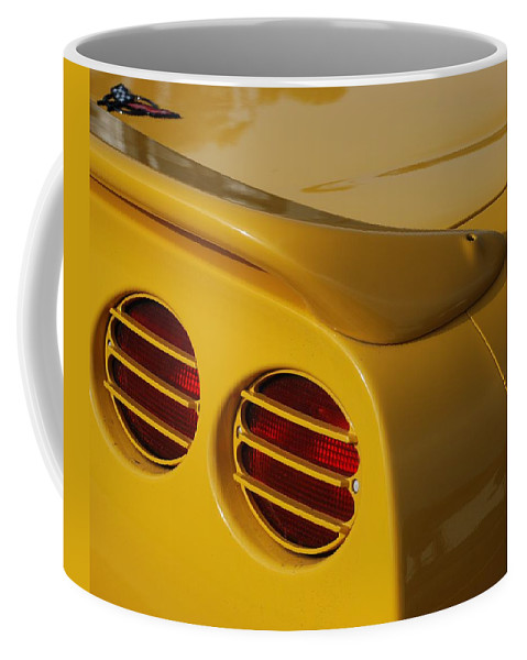 Corvette Coffee Mug featuring the photograph Yellow Vette Lights by Rob Hans