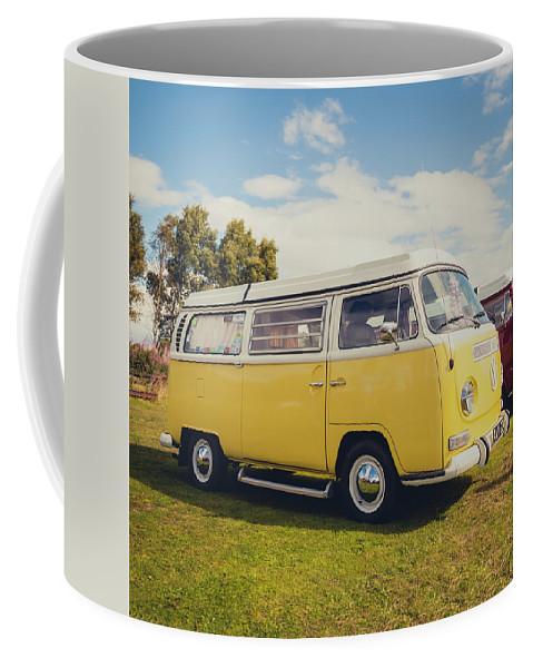 Retro Coffee Mug featuring the photograph Yellow Vw T2 Camper Van 02 by Richard Nixon