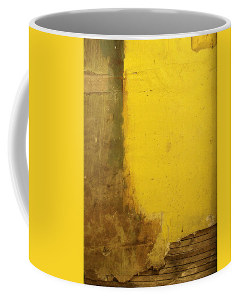 Yellow Coffee Mug featuring the photograph Yellow Wall by Tim Nyberg