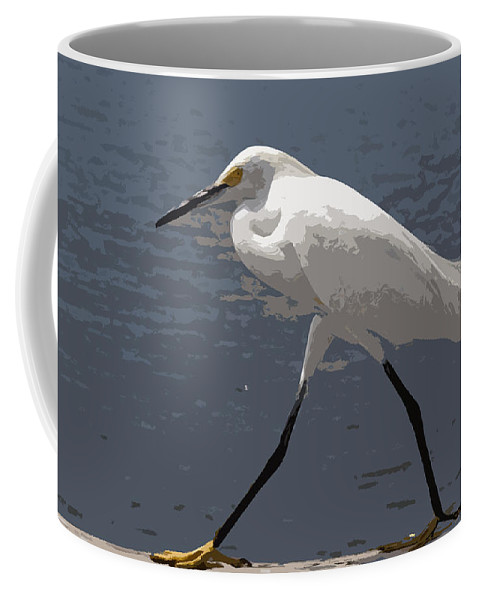 Bird Coffee Mug featuring the painting Yellowfeet by Allan Hughes