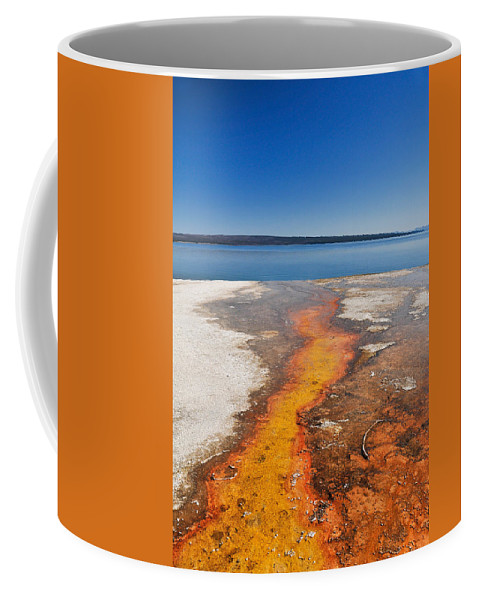 Yellowstone Lake Coffee Mug featuring the photograph Yellowstone Lake And West Thumb Geyser Flow by Ginger Wakem