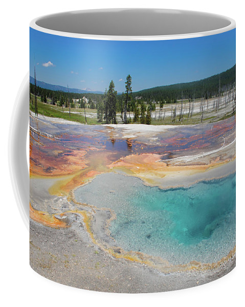 Firehole Spring Coffee Mug featuring the photograph Yellowstone's Firehole by Megan Martens