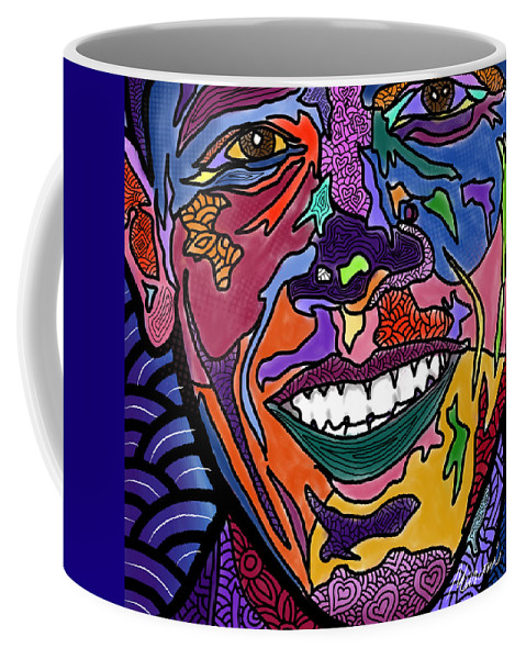 President Obama Coffee Mug featuring the digital art Yes We Can Obama by Marconi Calindas