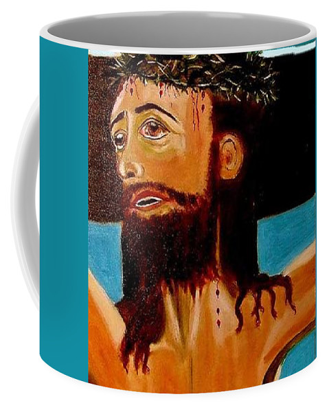 Jesus Coffee Mug featuring the painting Yeshua by Rusty Gladdish