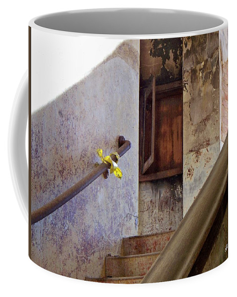 Stair Coffee Mug featuring the photograph Yesterday's Bulletin by Betty Northcutt