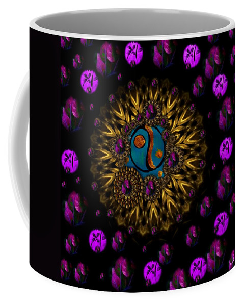 Acryl Coffee Mug featuring the mixed media Yin And Yang Collage by Pepita Selles