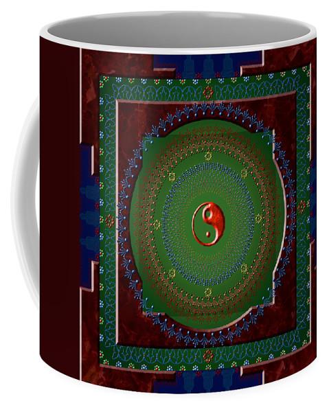 Mandala Coffee Mug featuring the digital art Yin Yang by Stephen Lucas