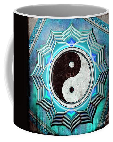 Yin Yang Coffee Mug featuring the mixed media Yin Yang - The Healing Of The Blue Chakra by Dirk Czarnota