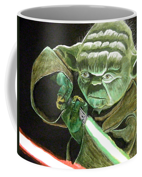 Star Wars Coffee Mug featuring the painting Yoda Fights by Jacob Logan