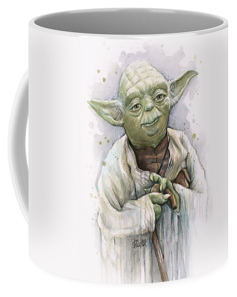 Yoda Coffee Mug featuring the painting Yoda by Olga Shvartsur