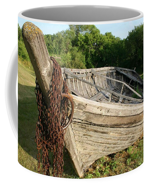 York Boat Coffee Mug featuring the photograph York Boat - Fort Garry by Nelson Strong