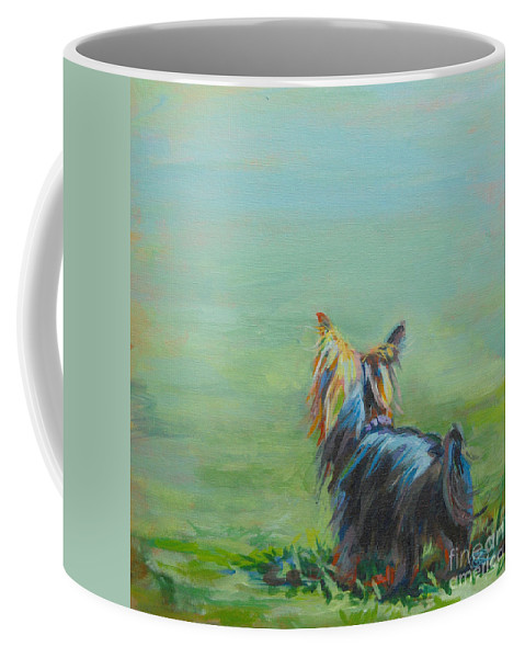 Yorkshire Terrier Coffee Mug featuring the painting Yorkie in the Grass by Kimberly Santini
