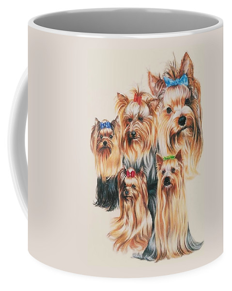 Purebred Coffee Mug featuring the drawing Yorkshire Terrier by Barbara Keith