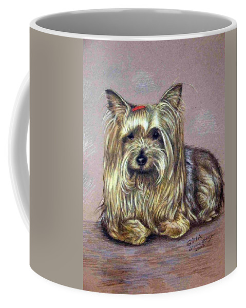Dog Coffee Mug featuring the drawing Yorkshire Terrier by Nicole Zeug