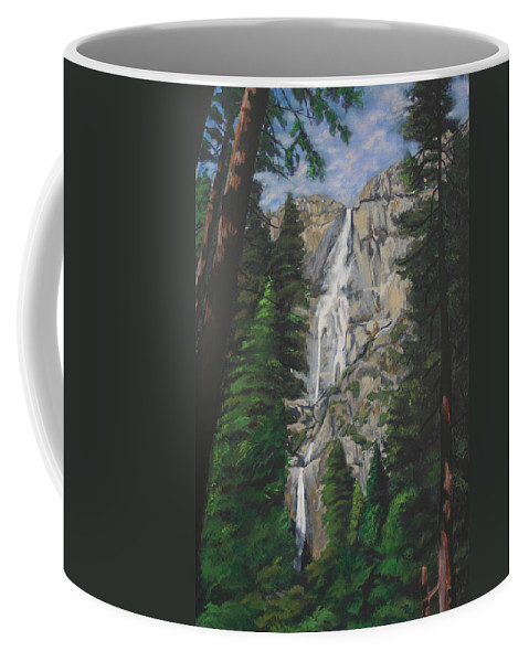 Landscape Coffee Mug featuring the painting Yosemite Falls by Travis Day
