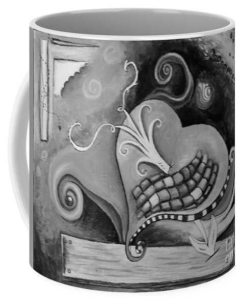 Pop Art Coffee Mug featuring the painting You Caught My Heart Black White by Shelly Tschupp