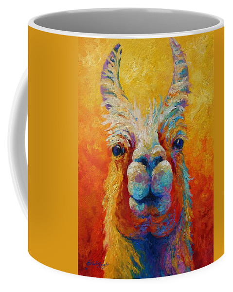 Llama Coffee Mug featuring the painting You Lookin At Me by Marion Rose