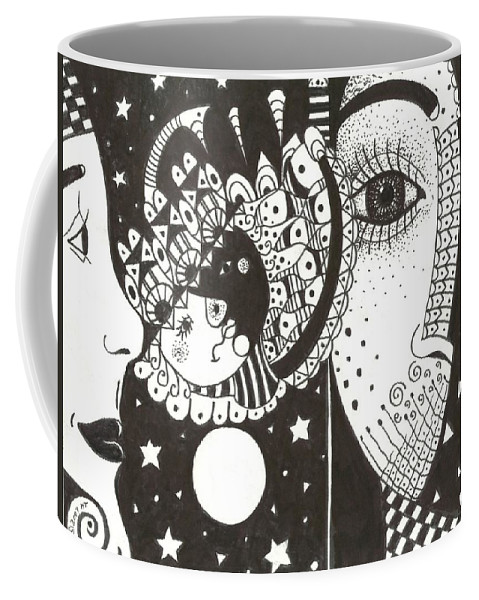 Ethereal Coffee Mug featuring the drawing You Me The Stars And The Moon by Helena Tiainen