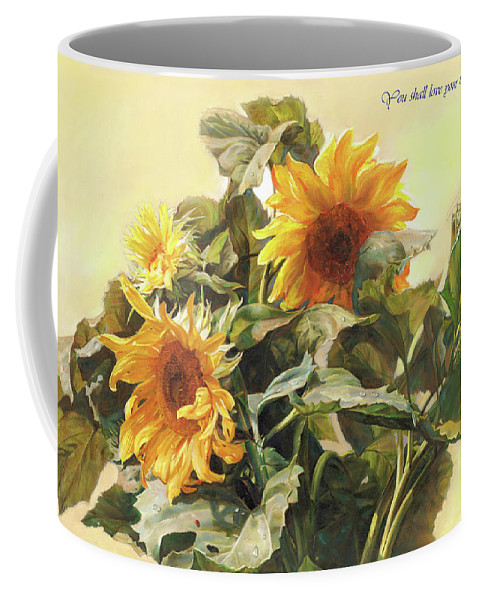 New Testament Coffee Mug featuring the painting You Shall Love Your Neighbor As Yourself by Svitozar Nenyuk