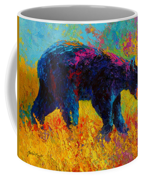 Bear Coffee Mug featuring the painting Young And Restless - Black Bear by Marion Rose