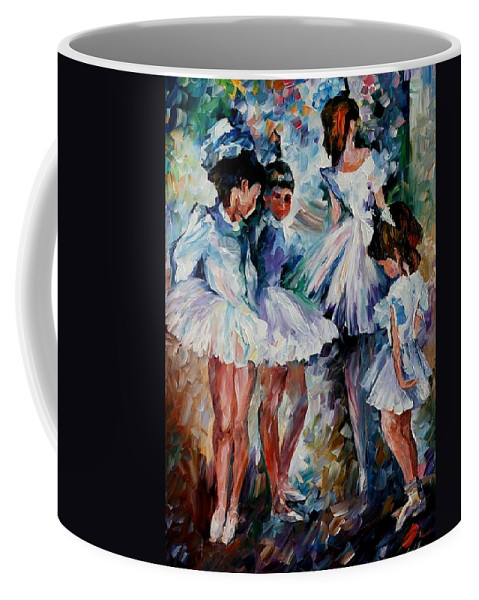 Afremov Coffee Mug featuring the painting Young Ballerinas by Leonid Afremov