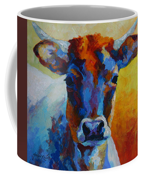 Western Coffee Mug featuring the painting Young Blood - Longhorn by Marion Rose