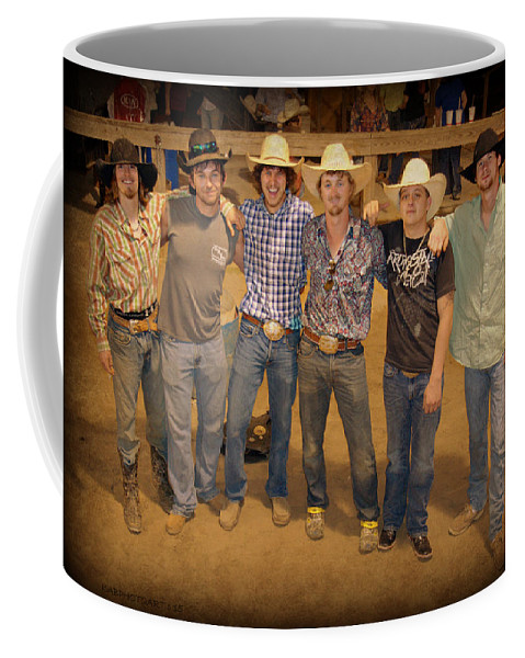 Cowboys Coffee Mug featuring the photograph Young Bull Riders Portrait by Kathy Barney