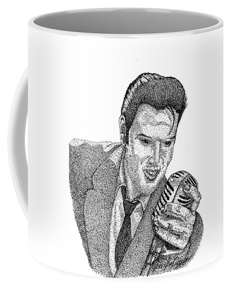 Iink Coffee Mug featuring the drawing Young Elvis by Jennifer Campbell Brewer