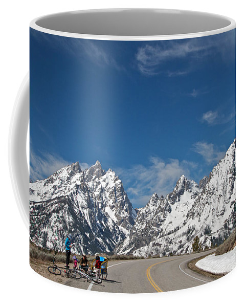Young Family Coffee Mug featuring the photograph Young Family Bicycling by Daryl L Hunter