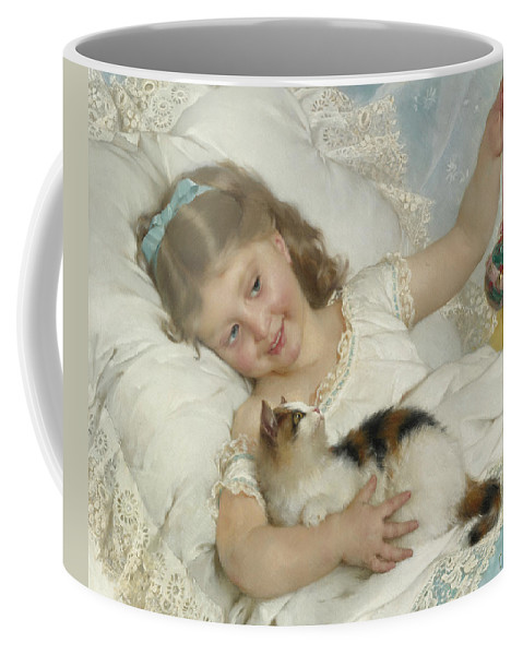 French Art Coffee Mug featuring the painting Young Girl And Cat by Emile Munier