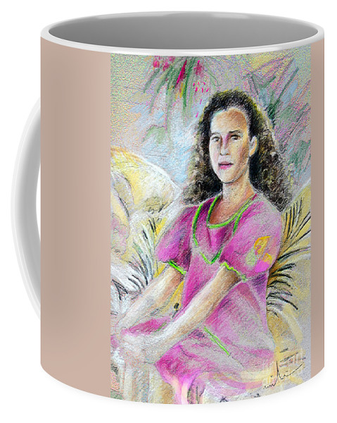 Younf Girl From Tahiti Portrait Coffee Mug featuring the painting Young Girl From Tahiti by Miki De Goodaboom