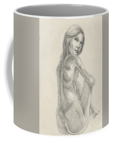 Nude Coffee Mug featuring the drawing Young Girl In The Sun by Satpal Kalsi