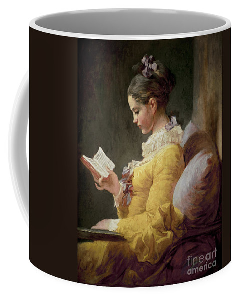Young Coffee Mug featuring the painting Young Girl Reading by JeanHonore Fragonard