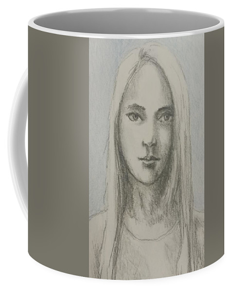 Portrait Coffee Mug featuring the drawing Young Girl With Long Hair by Satpal Kalsi