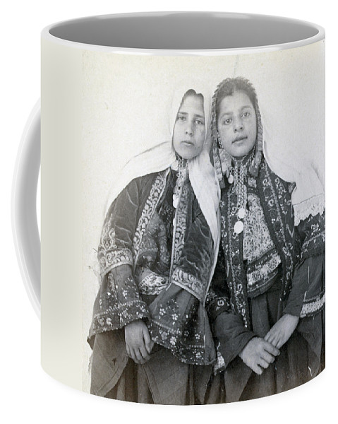 Portraits Coffee Mug featuring the photograph Young Girls Of Bethlehem Year 1896 by Munir Alawi