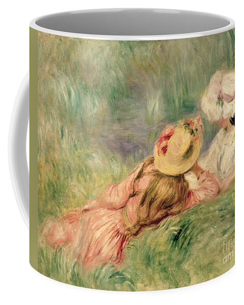 Young Coffee Mug featuring the painting Young Girls On The River Bank by Pierre Auguste Renoir