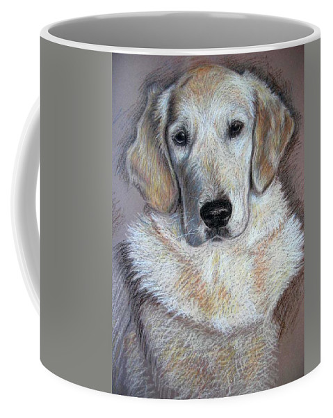 Dog Coffee Mug featuring the pastel Young Golden Retriever by Nicole Zeug